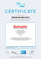 Barksdale ISO 9001 Certificate